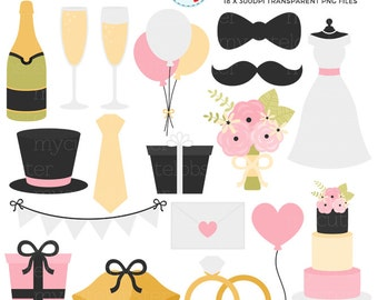 Wedding Clipart Set - wedding dress, champagne, bouquet, marriage clip art set - personal use, small commercial use, instant download