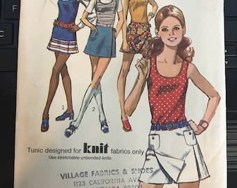 Vintage 60s Simplicity 9332 Skirt and Tunic Pattern-Size 12 (34-25 1/2-36)