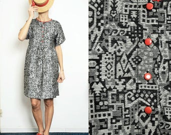 LAST PIECE (only size S/M) Black and gray abstract pattern Smock Dress with Buttons [Sophia dress/Black-gray]