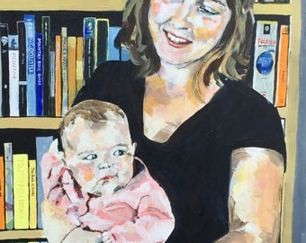CUSTOM Portrait Painting Mother and Child