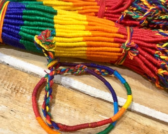 Woven Friendship bracelet / Rainbow Colours/ Round design / Cotton / Handmade/ Surfer/ Boho/ Fair Trade Gift /