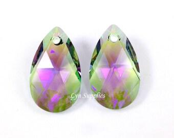 6106 PARADISE SHINE 22mm Swarovski Crystal Teardrop Pendant 2pcs or 6pcs Green Purple Special Effects