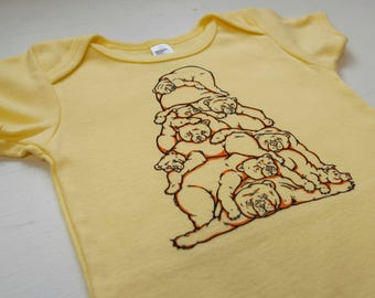 Bear Pile Baby bodysuit baby shower gift coming home outfit unisex baby gift