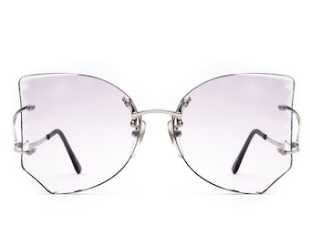 Tura Mod 188 Silver / Lavender Ombre Faceted Three Piece Chassy 1980's Sunglasses Eyeglasses Made in Italy