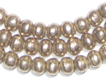 Wholesale! 6mm Silver Beads - Round Metal Beads - African Beads - Ethnic Spacers Ball Jewelry Necklace String Bulk Rosary Large Hole Rustic