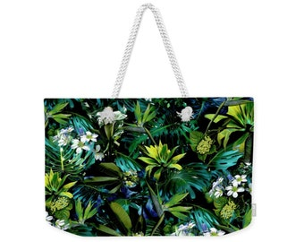 Beach bag, weekender tote bag,  tropical jungle, palm print, generous beach bag, large beach tote with white rope handle