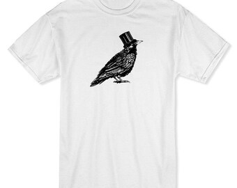Crow Hat   Men's White T-shirt