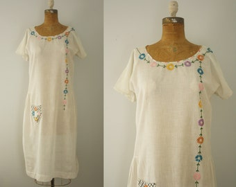 1920s dress | vintage 20s embroidered folk day dress