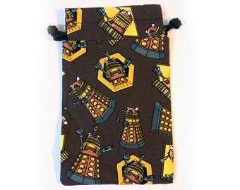XL Dalek Drawstring Dice Bag for Cell phones, Nintendo DS XL, Dice, cards, or anything!