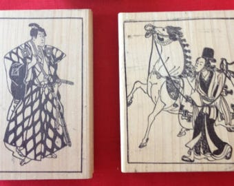 Japanese men rubber stamps - 2 large & 1 small wood mounted stamps, samurai rubber stamps