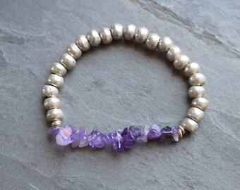 Amethyst bracelet,Gemstone bead bracelet, amethyst gemstone bracelet,boho stacking bracelet,gemstone stacking bracelet,amethyst jewelry