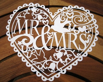 Mrs & Mrs/Mr and Mr/ Mrs and Mrs Papercut Template download (PDF, Jpeg)