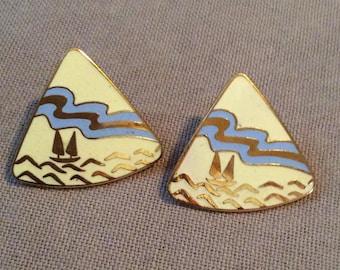 Vintage enameled camp sailing earrings
