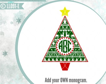 Aztec Christmas Tree with Star LL091 E - SVG - Vector - Cutting File - ai, Eps, svg (Cricut), dxf (for Silhouette users), jpg, pngE