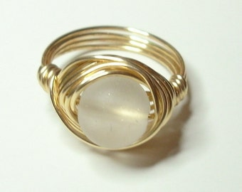 White Matte and Gold Wire Wrapped Ring