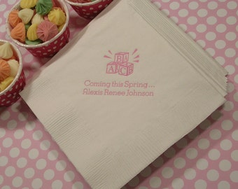 Baby shower napkins welcome baby napkins Set of 50 baby shower napkins personalized baby shower napkins beverage and luncheon size
