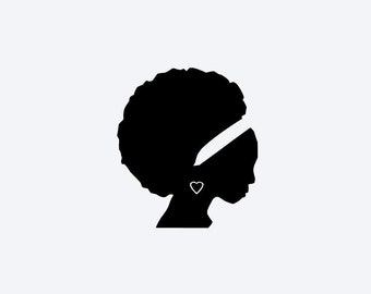 African American Woman Silhouette Vinyl Decal, Cell Phone Decal, Tablet Decal, Car Decal, Helmet Decal