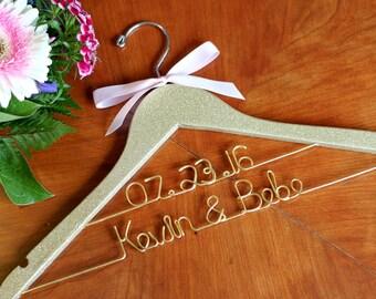 Glitter Gold Silver Pink Bridal Hanger, Wedding Hanger, Bride Hanger, Mrs Hanger, Bridesmaid Gift