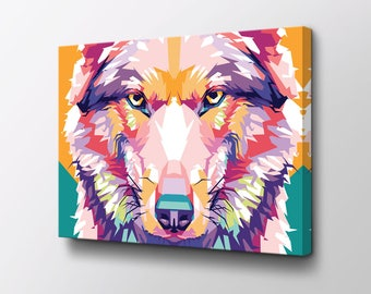 Wolf Canvas Art - Original design by Epik - Ready to Hang High Quality Canvas - Animal Wall Decor - Wolf Art - Modern Canvas Art