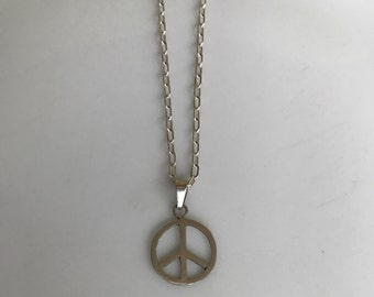 Sterling Silver Peace Symbol Chain Necklace 16""