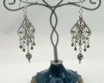 Antique silver filigree design earrings
