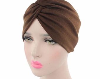 Brown Coffee Cotton Turban Hat, Hairband Head Wrap, Brown Women Hijab Cap