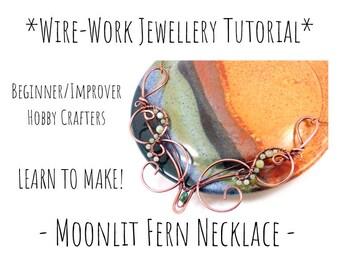 Wire Jewelry Tutorial, Copper Wire Wrap Necklace Tutorial, Learn to Make, Jewellery Tutorial, DIY Craft Project, Wirework Tutorial, PDF