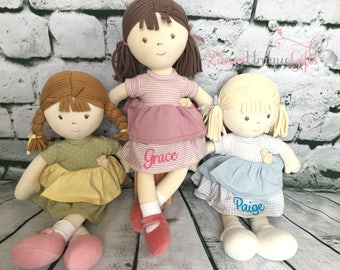Personalised Rag Doll / Handmade Doll / Baby Doll / Soft Dolls / Doll Bear / Doll for Baby Girls / Doll for Gift / Fabric Doll / Christmas