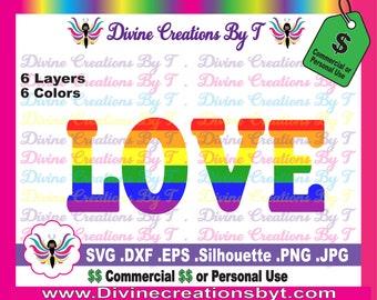 Rainbow Love  (Svg, Eps, Dxf, Png Jpg or Silhouette Studio V3 file)