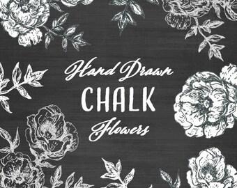 Chalkboard Clipart // Hand Drawn Flower Clipart // Wedding Clipart