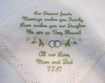 Wedding Handkerchief embroidered for the Bride from her friend.  Very popular gift for the bride on her wedding day.