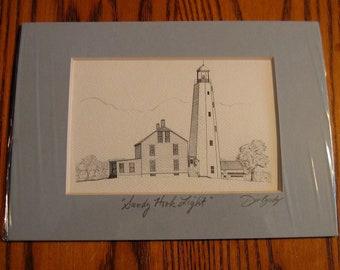 SANDY HOOK  LIGHTHOUSE Pen and Ink portrait Unframed Mat- Hand Signed by Artist