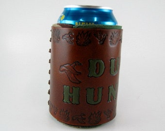 Leather Can Cooler Duck Hunter Custom Hunting Can Holder Made to Order Hand Tooled Deer Hunter Wild Boar Hunter Hand Stamped Can Holder