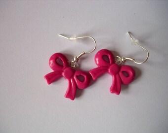 earrings, bow, fimo, raspberry