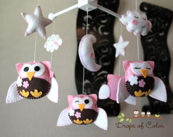 "Baby Crib Mobile - Baby Mobile - Baby Nursery Owl Mobile - ""Five little owls loves Cherry Blossoms"" (You can pick your colors)"