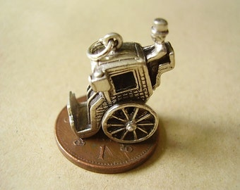 Sterling Silver Moving Hansom Cab Charm