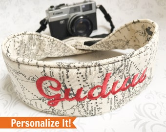 Personalized Camera Strap, 2 Lens Cap Pockets, Padded, Travel Photographer, Nikon or Canon Camera,  Gift, Photographer Gift - Maps