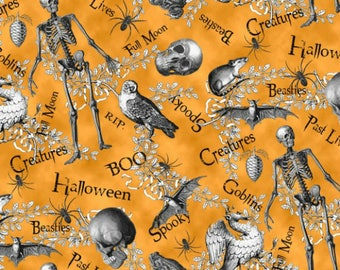 Blank Quilting - All Hallows Eve 8128-033 Orange   **Half Yard Cuts**