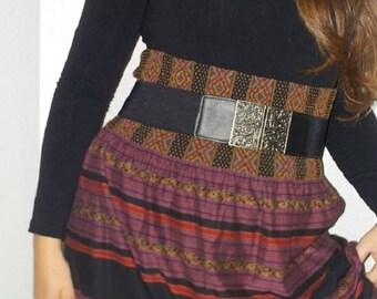 tribal print skirt, striped short skirt, knee line skirt, ethnic skirt, strapless mini dress, black striped skirt