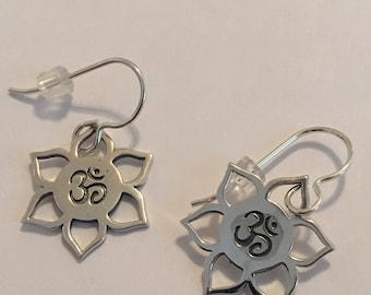 Sterling Silver OM Lotus Flower Earrings