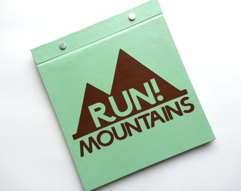 Running Bib Holder - Run! Mountains - Gift for Runner - Race Bib Book Hand-bound for Runners Pale Pale green and brown