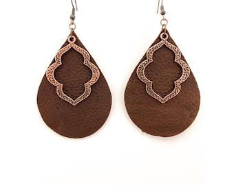 Leather Earrings - Quatrefoil Charm Earrings -Teardrop Leather Earrings - Lightweight Leather Earrings