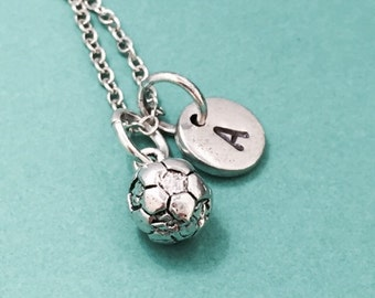 Soccer charm necklace, soccer ball necklace, sports necklace, personalized necklace, initial charm, soccer jewelry
