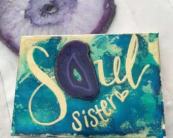 """boho gold and jewel tone on canvas with hand lettered """"soul sister"""" with glossy resin finish"""