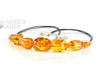 Cognac large Baltic amber beads necklace with leather, Natural amber beads, Baltic amber necklace for Her, 0301