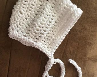 Crochet cotton baby bonnet