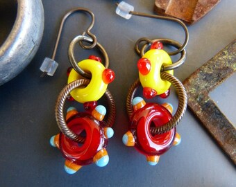 Red and Yellow Lampwork Glass Ring Earrings