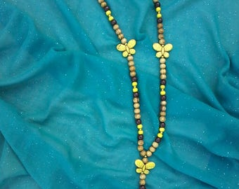 Wood beads and ceramic Yellow Butterfly Necklace