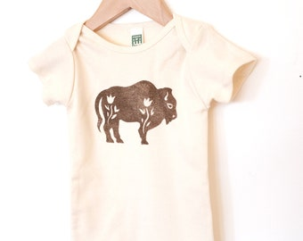 Bison Block Printed Baby Onesie Bodysuit Natural or Blue Organic Cotton