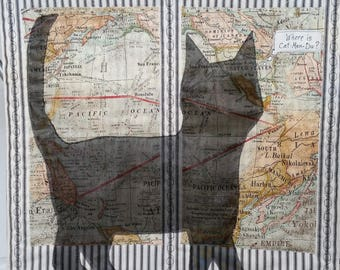 World map quilt wall etsy art quilt cat shadow plans a trip black cat tim holtz world map fabric black ivory gumiabroncs Images